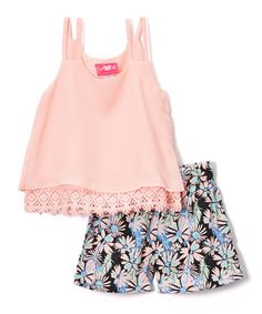 Look what I found on #zulily! Pink Chiffon Tank & Floral Shorts - Infant, Toddler & Girls #zulilyfinds