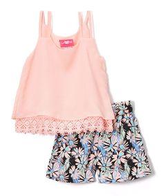 Another great find on #zulily! Pink Chiffon Crochet-Trim Tank & Floral Shorts #zulilyfinds
