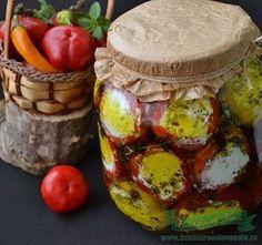 Ardei umpluti cu branza feta Romanian Food, Romanian Recipes, Pickling Cucumbers, Preserving Food, Preserves, Baked Potato, Pickles, Camembert Cheese, Stuffed Mushrooms