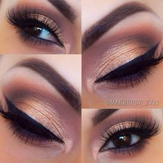 #gold lid, plum crease blended into warm brown | #smokey eye #makeup @makeupbyev21