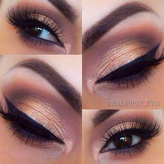 #gold lid, plum crease blended into warm brown | #smokey eye #makeup @makeupbyev21