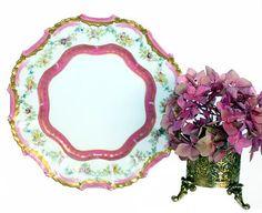Antique French Tressemanes & Vogt Limoges Pink Gilt Cabinet Plate