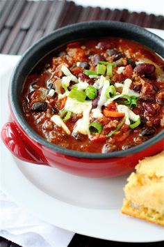 Spicy Two Bean Chili recipe from the Curvy Carrot (though I would have to add meat for our household ;o)