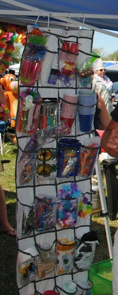 Shoe organizers make great parrothead tailgate organizers! Lots of room for shot glasses, straws, leis, markers, cups, beads, coconut bras, Kleenex, wet wipes, inflatables, clothes pins & clips, tape, silverware, drink umbrellas, toothpicks, etc.