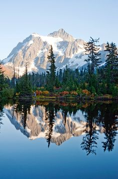 Shuksan reflected in Picture Lake in North Cascades National Park, Whatcom County Washington, USA (by MarleneFord) Cascade National Park, North Cascades National Park, National Parks, National Forest, Landscape Photography Tips, Nature Photography, Photography Settings, Nature Pictures, Cool Pictures