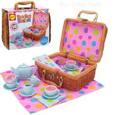 Alex Toys Tea Set Basket - - A basket full of fun! Contains everything you need for afternoon tea! Comes with a porcelain teapot with lid, creamer, sugarbowl with lid, 4 cups, 4 saucers Wicker Picnic Basket, Wicker Baskets, Childrens Tea Sets, Tea Party Setting, Alex Toys, Pretend Play, Toys For Girls, Deco, Cool Toys