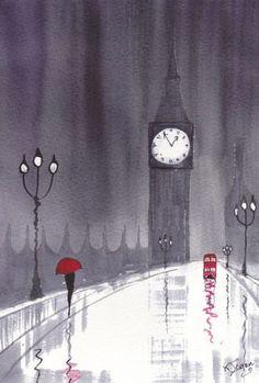 Art: Rainy Day London~Crossing Westminster by Artist KJ Carr