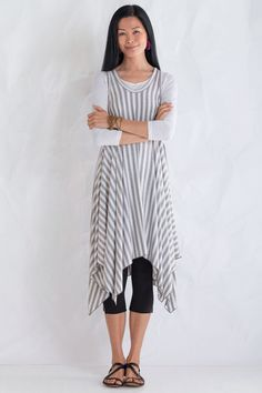 Zipper Jumper and Tee by Comfy USA . Bold and lively in a sassy stripe, this dress boasts a twirl-worthy handkerchief hem and an unexpected zipper detail in back. Includes a separate white crinkled tissue tee for easy layering.