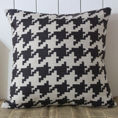 Retro Black Houndstooth Tweed Linen Cushion Cover - got two of these! Love!!!