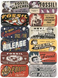 Fossil Tins ~ package design by Charles S. Anderson Design Company, Minneapolis, 1993 Illustrator: Randall Dahlk