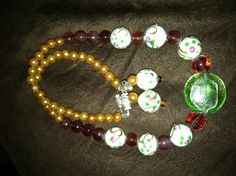 Lamp work beads and pearl necklace & earring set