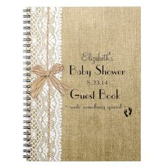 burlap lace baby shower | Burlap and Lace- Baby Shower Guest Book- Spiral Notebooks