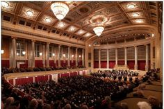 The Musikverein is Vienna's most famous center for classical music. Going to a concert here is about getting to know Vienna as a city of music in a setting of the very finest quality. And musical greats such as the Vienna Philharmonic. Vienna Philharmonic, Dance Of Death, Hall Interior, Stage Show, Chongqing, Concert Hall, Classical Music, Musicals, City