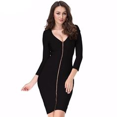 215129bb7fa Women s Winter Bodycon Long Sleeve Zipper Knee Length V-neck Bandage Dress