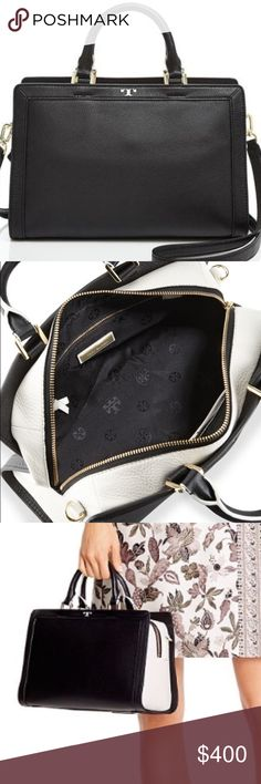 Tory burch Jessica satchel Authentic Tory burch Jessica satchel- sold out- purchased for $500- black and ivory leather- medium sized Tory Burch Bags Satchels