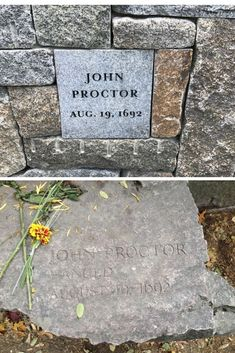 Memorial marker for John Proctor at Proctor's Ledge Memorial (top) and Salem Witch Trials Memorial (bottom) in Salem, Massachusetts. Salem Witch Trials Victims, Titanic Artifacts, Memorial Markers, Salem Mass, East Coast Travel, Travel Goals, Oh The Places You'll Go, Massachusetts, Witchcraft