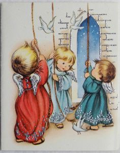 60s Glittered Angels Ring the Bell-Vintage Christmas Greeting Card