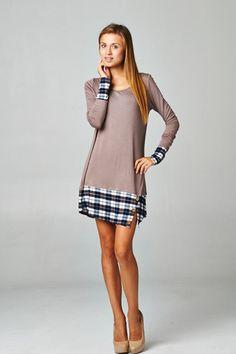 Plaid Peekaboo Tunic Dress : Swoon Boutique
