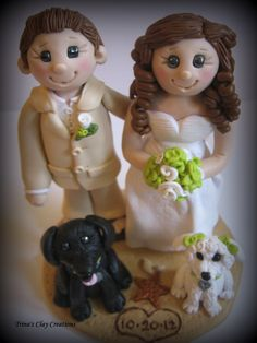 Wedding Cake Topper Bride and Groom with Two Dogs Personalized Polymer Clay Beach Theme topper/keepsake. via Etsy.