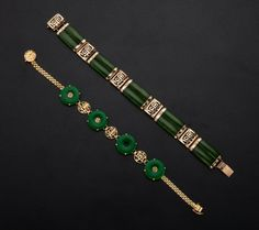 Two bracelets: the first features carved nephrite jade and 10K gold, the second carved jadeite jade, set in 18K gold, with 18 cold centers.