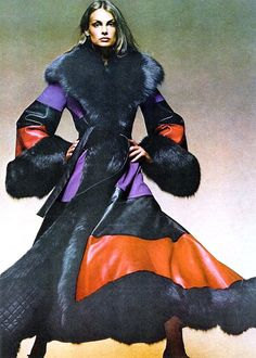 Miss Jean Shrimpton models a dramatic Christian Dior coat for VOGUE USA, 1971 photo by David Bailey.