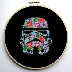 Star Wars Cross Stitch PDF pattern Floral Stormtrooper Helmet - Silhouette