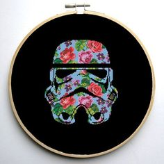 Star Wars Cross Stitch PDF pattern Floral Stormtrooper Helmet - Silhouette