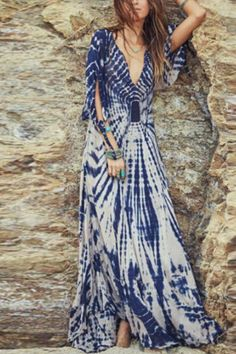 Buy Maxi Dress For Women from A-THENA at Babyonlinewholesale. Online Shopping Babyonlinewholesale Plunging neck Blue Maxi Dress A-line Dress Sleeve Holiday Slit Dress, The Best Beach Maxi Dress. Discover unique designers fashion at Babyonlinewholesale. Look Hippie Chic, Gypsy Look, Look Boho, Gypsy Style, Bohemian Style, Boho Gypsy, Hippie Bohemian, Böhmisches Outfit, Hijab Outfit