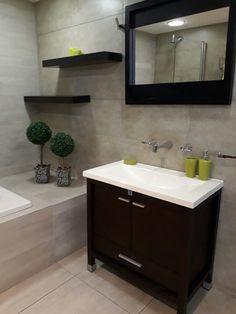 Concrete Corner Bathtub, Concrete, Vanity, Bathroom, Ideas, Home, Dressing Tables, Washroom, Powder Room