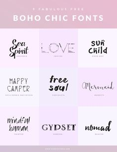 9 FREE BOHO CHIC FONTS ♥ Mindful Pixels