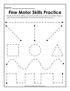 Use this Fine Motor Skills Practice Worksheet to practice fine motor skills, handwriting skills, drawing skills, and how to hold and grasp a pencil. Handwriting Worksheets For Kindergarten, Pre K Worksheets, Printable Preschool Worksheets, Preschool Writing, Homeschool Kindergarten, Shape Tracing Worksheets, Nursery Worksheets, Tracing Lines, Writing Practice Worksheets