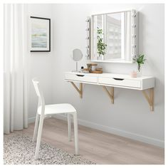 Excellent Photos EKBY ALEX / EKBY VALTER wall shelf with drawers - white, birch - IKEA Ideas Investing in a well-designed sofa is just a major decision and not one to produce lightly. Wall Shelf With Drawer, Ikea Wall Shelves, Vanity Shelves, Drawer Shelves, Shelf Desk, Wall Mounted Makeup Vanity, Makeup Shelves, Desk On Wall, Ikea Shelves Bedroom