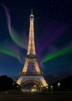 Eiffel Tower With Northern Lights by Jason Stevens Photography, via Flickr