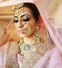 Indian Wedding Jewelry- Polki Choker Set with Nath and Maang Tikka | WedMeGood  #wedmegood #indianwedding #indianbride #veil #polki #pink #nath