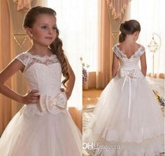 2016 Lace Flower Girl Dresses By Tulle Ball Gown Scoop First Communion Dresses For Girls Wedding Occsion Prom Dress Children Purple Bridesmaid Dresses Wedding Outfits From Hotdresses, $65.33| Dhgate.Com