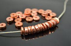 35 Mykonos Greek Ceramic Beads - Metalized Copper - 6mm Small Round Washer - 35 BEADS. $8.50, via Etsy.
