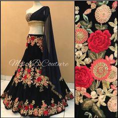 This set including floral motif resham embroidered lehenga choli set with matching dupatta set. Indian Lehenga, Lehenga Choli, Anarkali, Indian Designer Outfits, Designer Dresses, Ethnic Fashion, Indian Fashion, Women's Fashion, Indian Dresses