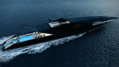 Striking mega yacht BLACK SWAN concept by Timur Bozca. Measuring impressive 70 meters in length over all, mega yacht Black Swan concept has been beautifully designed by the young Turkish yacht &. Yacht Design, Boat Design, Deck Design, Super Yachts, Speed Boats, Power Boats, Swan Yachts, Ski Nautique, Grand Luxe
