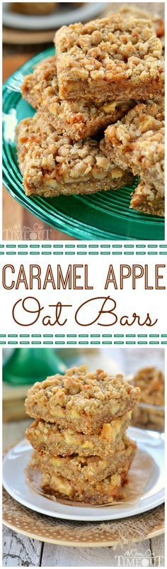 Caramel Apple Oat Bars are the perfect way to celebrate the season! Packed full of fresh apples, nuts and oozing with caramel, these bars are hard to resist! | MomOnTimeout.com