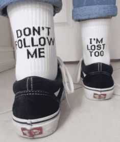 Dont Me Im Lost Tooquot; Fashion Mode, Look Fashion, Fashion Outfits, 90s Fashion, Funny Socks, Cute Socks, White Market, Rock Tumblr, Diy Vetement