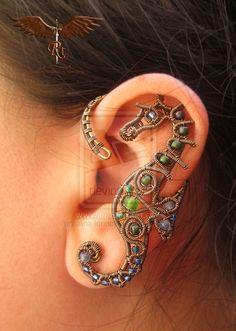 Items similar to Custom Sea creatures ear wrap, ear cuff, wire wrapped on Etsy Ear Jewelry, Jewelry Crafts, Jewelry Accessories, Handmade Jewelry, Jewelry Design, Jewelry Making, Jewellery, Skull Jewelry, Hippie Jewelry