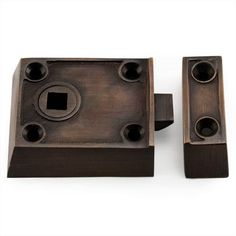 Small Solid Brass Rim Latch Set with Black Porcelain Knobs - Left Hand - Oil Rubbed Bronze