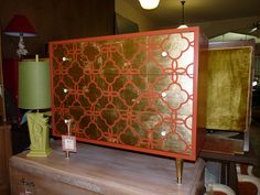 Reinvented mid-century tangerine and gold leafed dresser, pair available. | Twice by Kelly Rauch | www.kellyrauch.com
