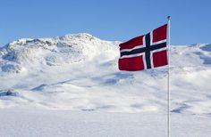 Norsk flagg vaier i vinden med fjell i bakgrunnen