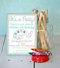 invitation set complete with crayons for coloring and bubble mailer for sending!