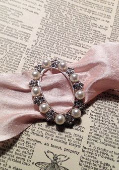 pearl and crystal silver floral bouquet buckle diy by ShyMyrtle