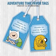 Adventure Time Favor Tags by DigitalDesignChile on Etsy