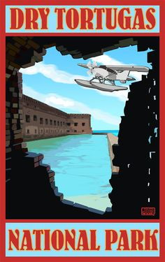 Dry Tortugas National Park Travel Poster >>> I want to go here SO bad and I am so bummed because we are going to Fla next week but have no time to make it this far down.... :(