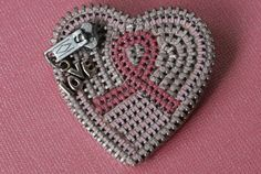 Zipper Brooch for Breast Cancer Awareness