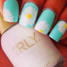 Daisy nails nails blue nail pretty daisy pretty nails nail art nail ideas nail designs